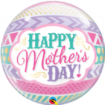 "Dots & Stripes Mothers Day Bubble Balloon (22"") 1pc"
